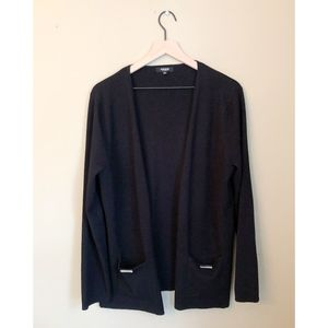 Premise Studio Black Open Knit Drape Cardigan